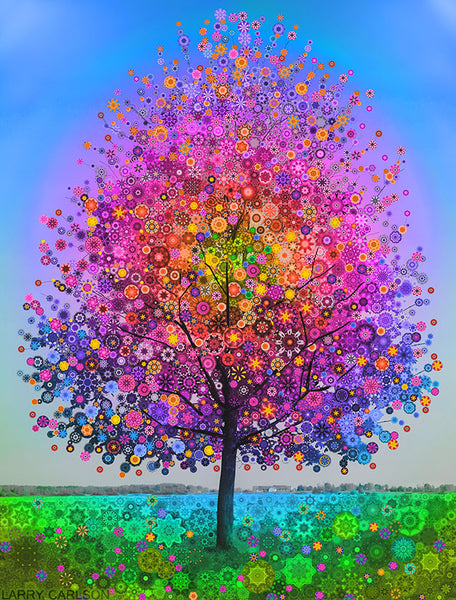 The Magic Rainbow Star Tree - psychedelic art