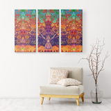 Animal Spirit Tree - 3 Piece Canvas - psychedelic art