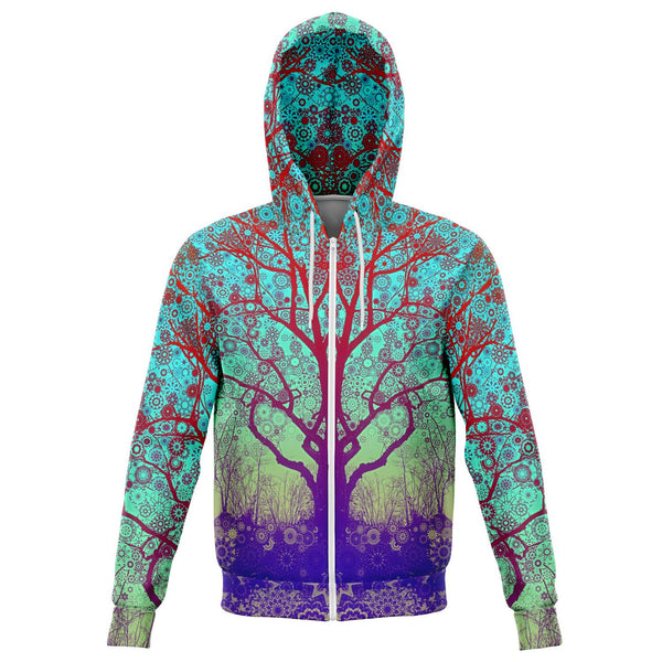 Red Star Trip Tree - Zip Up Hoodie - psychedelic art