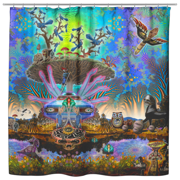 Centro Tree - Shower Curtain - psychedelic art