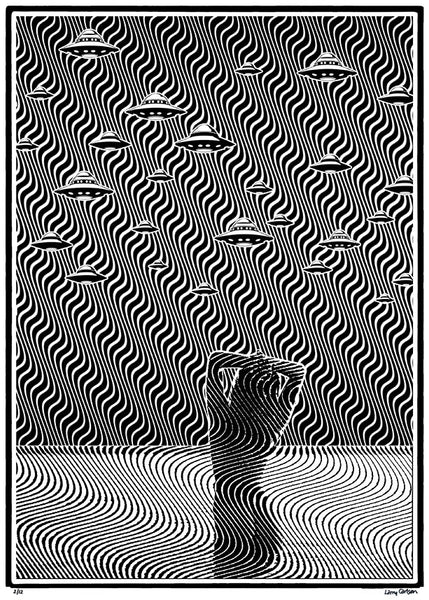 Wavy 25 - Intergalactic Visionary - Black and White Edition - psychedelic art
