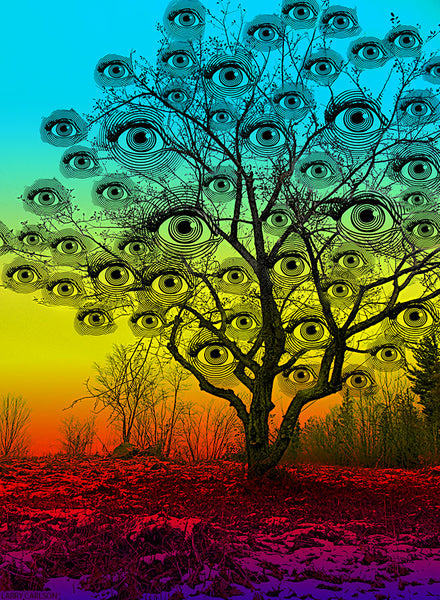 Winter Eyes Rainbow Tree - psychedelic art