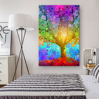 Rainbow Star Tree - Canvas - psychedelic art