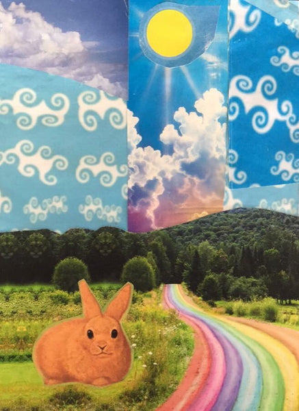 Rainbow Road and Rabbit - psychedelic art