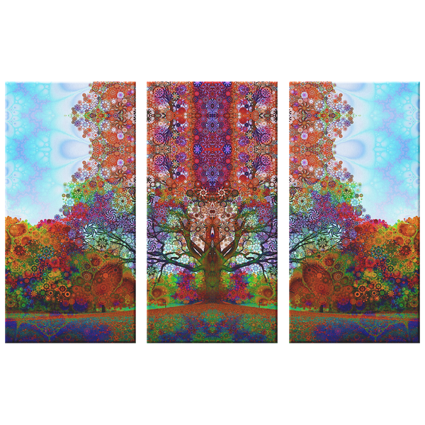Trip Tree - 3 Piece Canvas - psychedelic art