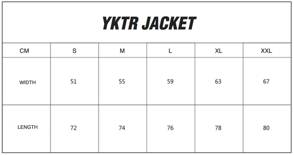 YKTR JACKET SIZING CHART