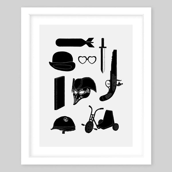 White framed fine art print in black & white, showing different items and tools