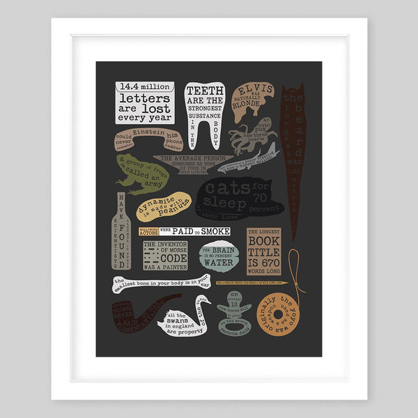 White framed fine art print picturing 22 useful facts in random shapes and silhouettes