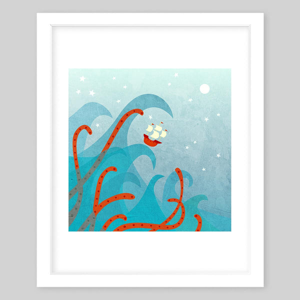 White framed art print illlustrating small boat in a wave in the middle of the ocean