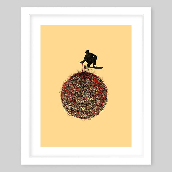 White framed art print of the silhouette of a man stringing a large ball of yarn on his finger