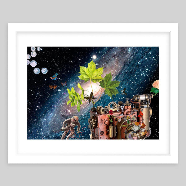 White framed art print in a collage format showing an astronaut in space surrounded by nature and a giant camera