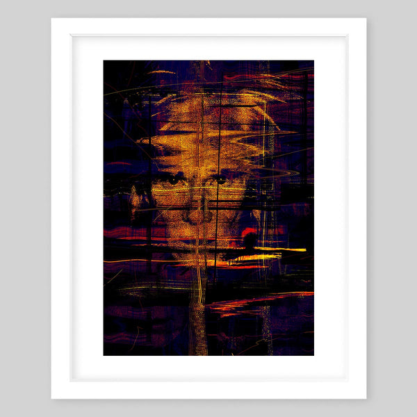 White framed abstract art print with a dark background and strokes of bright color with a subtle portrayal of famous artist Andy Warhol