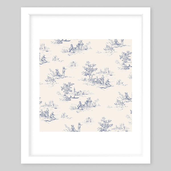 White framed art print of a design showing different animals in their natural habitat