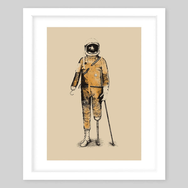 White framed art print illustrating an astronaut with pirate-like features all in watercolors