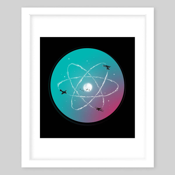 White framed art print showing three airplanes in the night sky forming an atomic symbol sign surrounding the moon