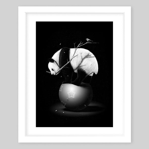 White framed art print with a black background illustrating a panda bear balancing on a ball and holding a tree branch