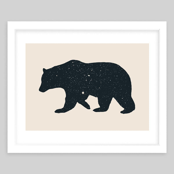 White framed art print featuring a bear silhouette with a vintage feel