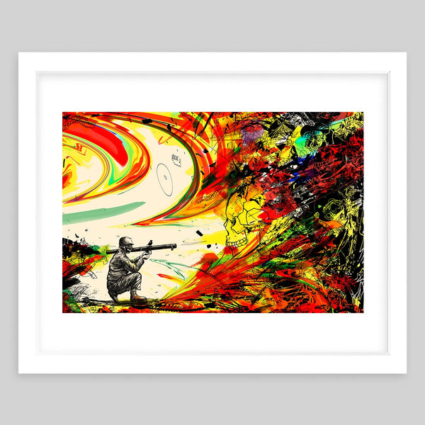 White framed art print illustrating a soldier with a bazooka in a colorful background