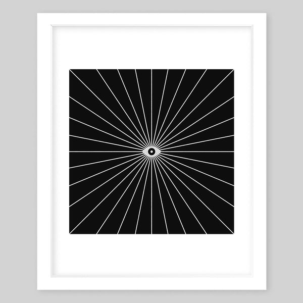 White framed art print in an abstract style with an eye in the center and a black background