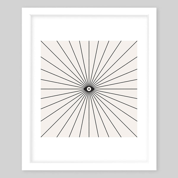 White framed art print in an abstract style with an eye in the center