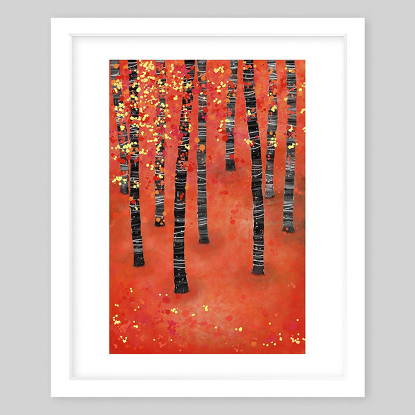 White framed art print illustrating long trees in an orange background with leaves in the wind