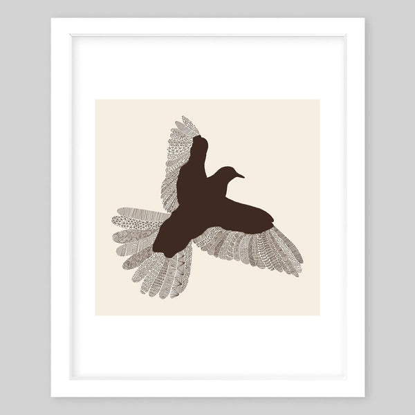 White framed art print illustrating a bird silhouette with a vintage feel