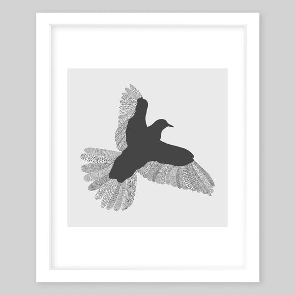White framed art print illustrating a bird silhouette with grey undertones