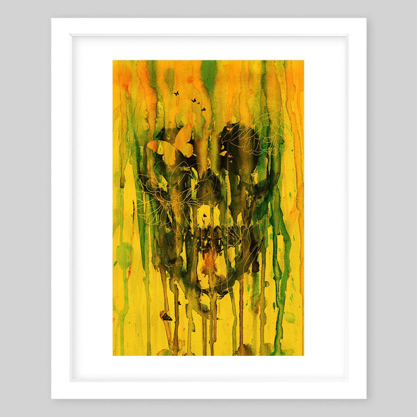 White framed art print portraying a skull in the background with dripping paint and butterflies in the foreground