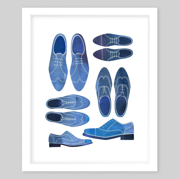 White framed art print illustrating different views of the same blue shoes