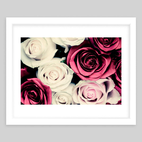 White framed art print of a close-up photograph of a maroon, white, and blush rose bouqet
