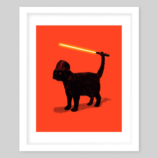 White framed art print of a black cat wearing a Darth Vader mask and holding a light saber with its tail all against a bright red background