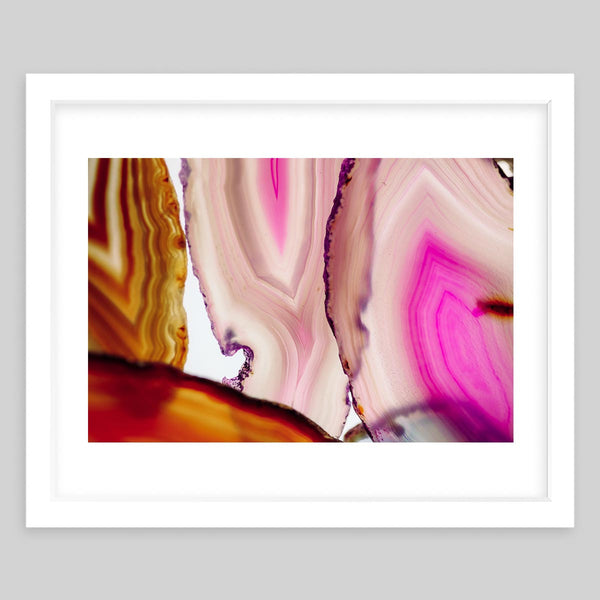 White framed art print of a photograph of the details on colorful minerals