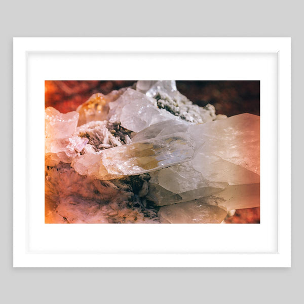 White framed art print of a photograph of crystals