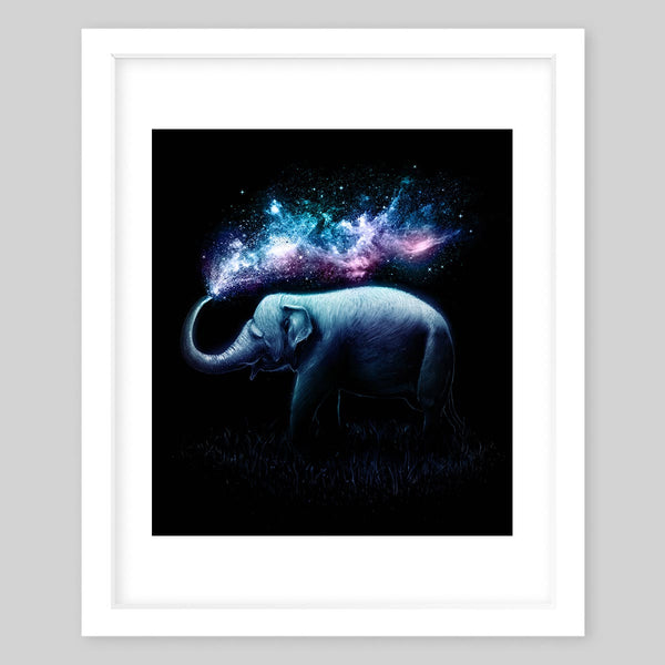 White framed art print illustrating a portrait of an elephant splashing neon water out of its trunk