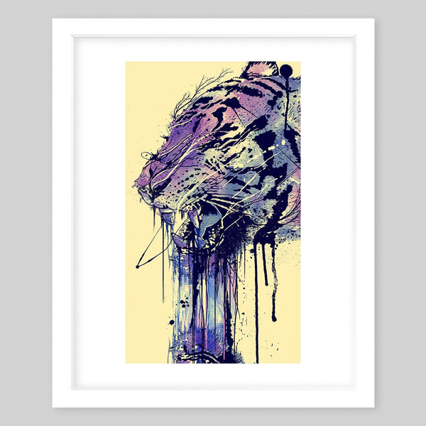 White framed art print illustrating the sketch of a purple tiger with scribbles leading all the way down in the portrait