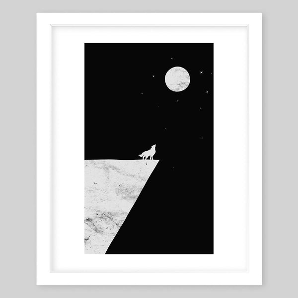 White framed art print illustrating a wolf standing on the edge of a cliff howling at the moon