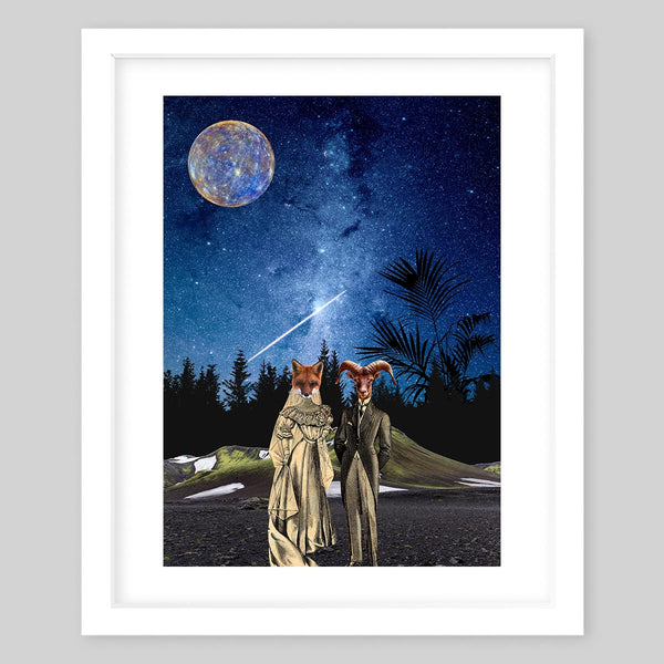White framed art print of a collage featuring a wolf as a woman and a ram as a man dressed in vintage style clothing standing in a forest with the night sky and moon in the background