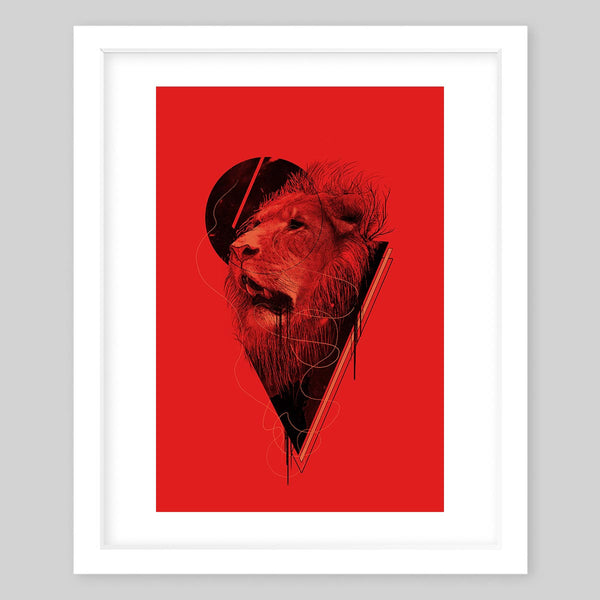 White framed art print with a red background and a black illustration of a lion head