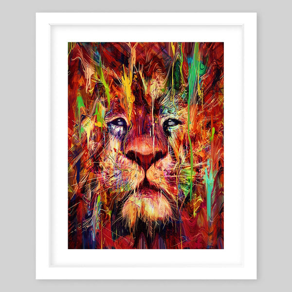 White framed art print of a colorful lion face portrait with red undertones