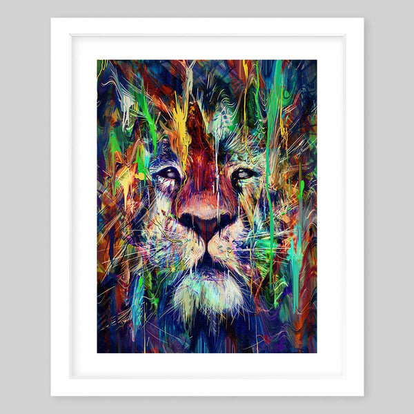 White framed art print of a colorful lion face portrait