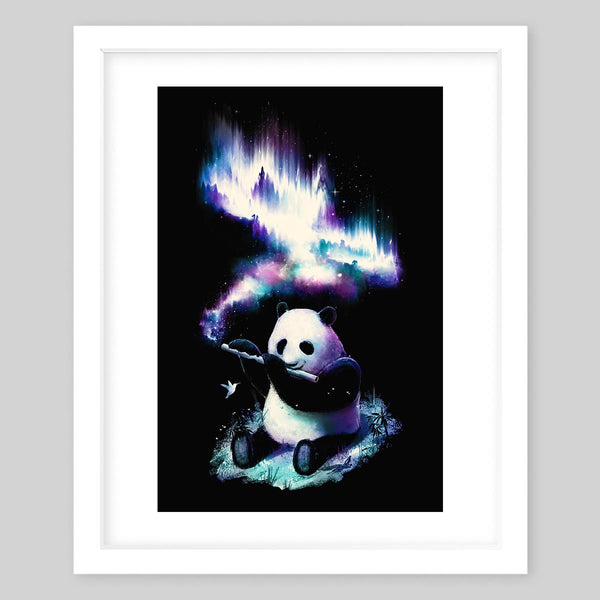 White framed art print of a panda bear playing the flute as a glowing mist escapes the air hole of the flute