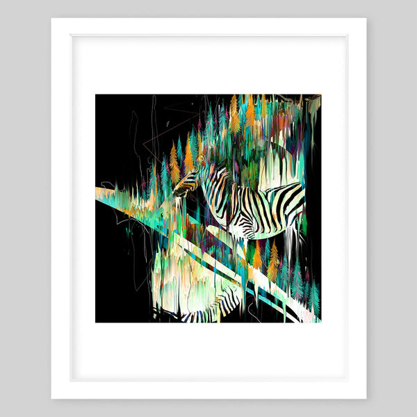 White framed art print of a horse painted to look like a zebra and various illustrated pine trees throughout the image