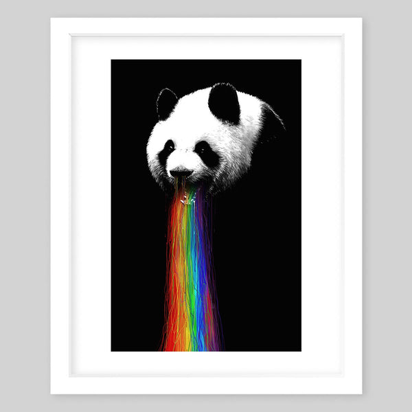 White framed art print of a panda that has a drizzling rainbow coming out of its mouth and slightly through the nose