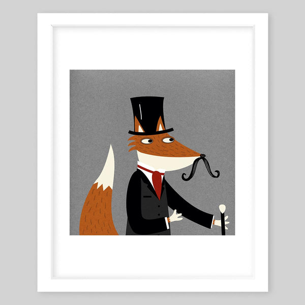 White framed art print of the illustration of a fox with a mustache wearing a fancy suit, a top hat and holding a cane