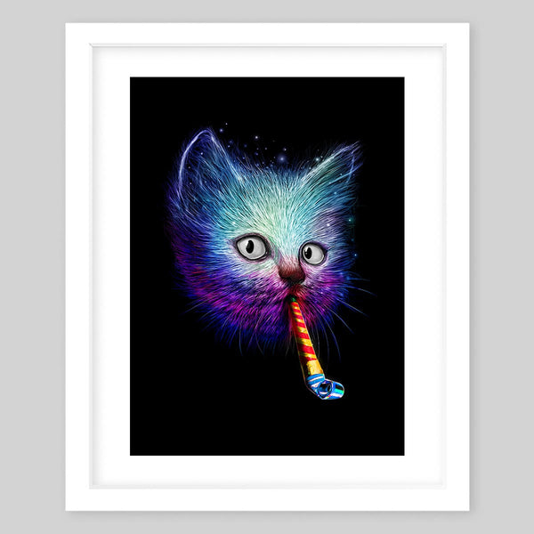 White framed art print of a fluffy cat's head in bright neon colors blowing on a party horn