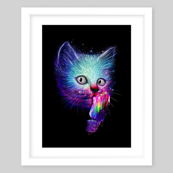 White framed art print of a fluffy cat's head in bright neon colors licking a rainbow colored popsicle
