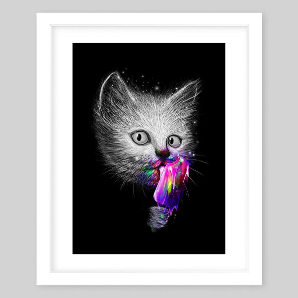 White framed art print of a fluffy cat's head in black & white licking a rainbow, neon Popsicle