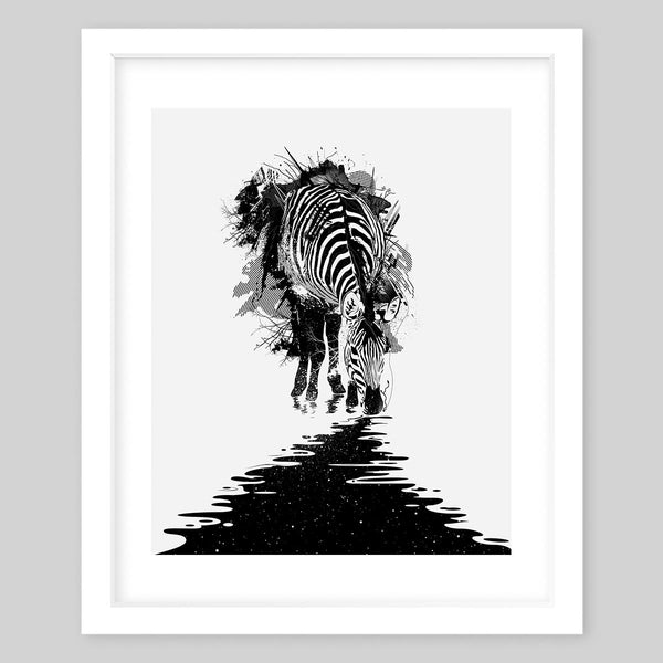 White framed art print of a zebra breaking through a wall towards a black trail