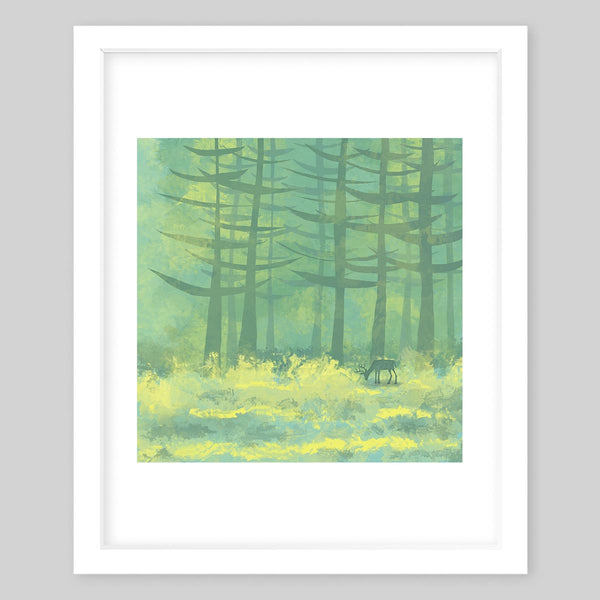 White framed art print illustrating a green forest with a meadow and tall trees and a deer in the distance