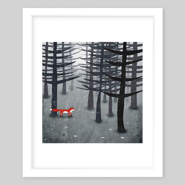 White framed art print illustrating a dark forest with tall trees and light fog with a red fox wandering in between the trees